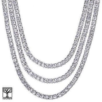 "Jewelry Kay style Men's 20"" / 22"" / 24"" Iced CZ Triple Silver Plated Tennis Chain Necklace SET"