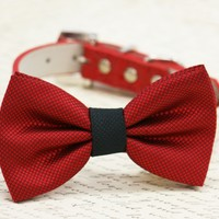 Red and Black dog bow tie attached to collar, dog birthday gift, black red wedding
