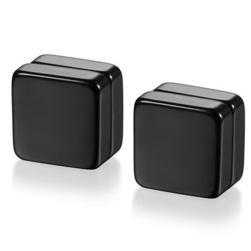 SHIPS FROM USA Black High Quality Magnetic Square Stud Earrings For Men Stainless Steel Magnet Earrings Jewelry For Men And Women
