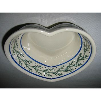 Boleslawiec Polish Stoneware Bowl Heart Shape