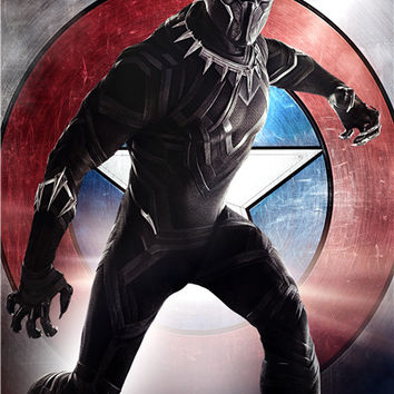 Custom Canvas Art Black Panther Poster Marvel Wallpaper Super Heroes Wall Stickers Captain America Sticker Mural Decal #2894#