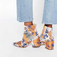 ASOS REACH Pointed Jacquard Ankle Boots