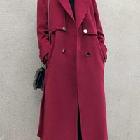 New Burgundy Pockets Sashes Turndown Collar Long Sleeve Going out Coat