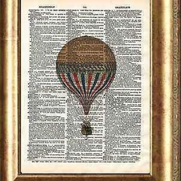 Yellow Hot Air Balloon Art Print on Antique Book Page Vintage Illustration Fly