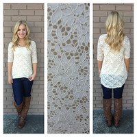 Cream Lace Hi Low 3/4 Sleeve Top