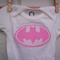 Pink Batman Applique Onesuit by WillingHandsCrafts on Etsy
