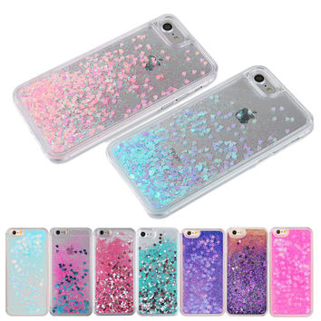 Hot Clear Liquid Glitter Sand Fluorescent Love Heart Bling Back Case Cover for iPhone 5 5s 6 6s Plus 4 4g 4s 7 Cell Phone Cases