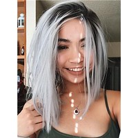 Short Grey Ombre Bob Synthetic Lace Front Wig