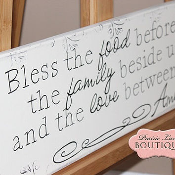 Bless the food before us the family beside us and the love between us 8x24 canvas