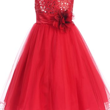 Red Sequined Bodice Dress with Lettuce Hem Tulle Skirt Girls 2T-14