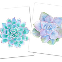 Succulent Watercolor Painting - Greeting Card Set of 4