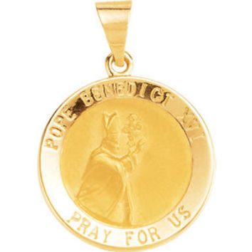 14K Yellow 18.7mm Round Hollow Benedict XVI Pope Medal