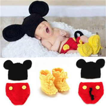 Disney Mickey Mouse Crochet newborn baby Set Photography Prop