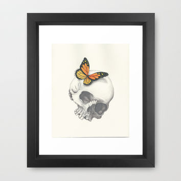 Skull and Butterfly Framed Art Print by haleyivers
