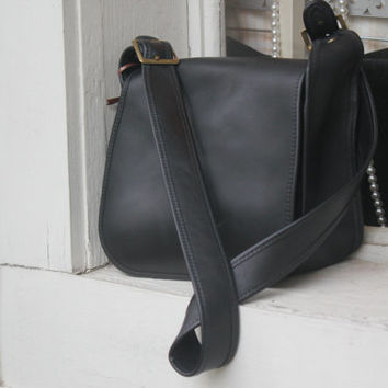 Leather Messenger Bag, Black Handbag, Unisex Messenger Bag