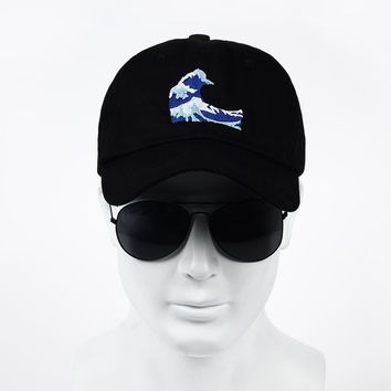 VORON 2017 ne'w Embroidery Wave Dad Hat Japanese Baseball Cap For Women Men Casual Curved Breathable Snapback Sun Hats Bon