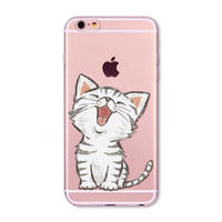 Cute Cat Cover for iphone 5 5s SE Transparent TPU Mobile phone case