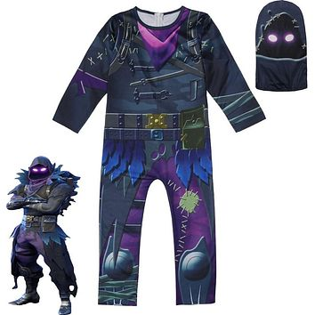 Kids Raven Fortnight Gingerbread Man Skin Decoration Boy Cosplay Clothes Halloween Costume Party Funny Gamer Dress up Clothing