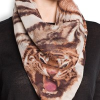MANGO - Shoes - Tiger print frayed scarf