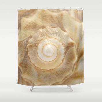 Lightning Whelk Seashell Shower Curtain by Cindi Ressler Photography