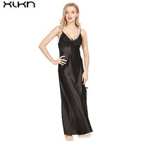 XIKN Lady Strap Dresses Fashion Noble Nightdress Soft Comfortable Skin-friendly Clothing Nightwear Home dress AK004