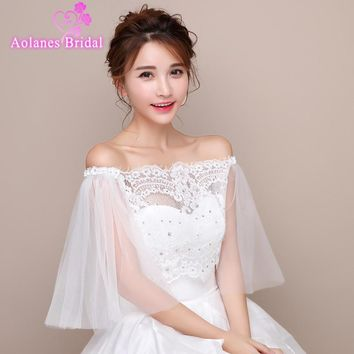 2017 New Off White/Ivory Off the Shoulder Lace Wedding Bolero Women Wraps Bridal Jacket Crystal Back Lace Up Wedding Shawl