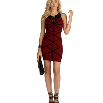 Burgundy Rattled Bodycon Dress