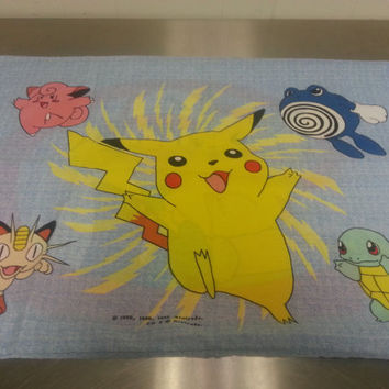 Vintage 90's Pokemon Pillowcase Japan Trading Card Anime Characters Pikachu Squirtle Polywhirl Blue Red Pokemon Go