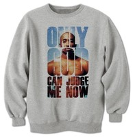 Bang Tidy Clothing Unisex-Adult Tupac Shakur 2 Pac Sweatshirt Only God Can Judge Me Now Medium Grey