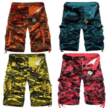 100% Cotton Multi Pocket Orange Camo Cargo Shorts Men Military Yellow Camouflage Bermuda Blue Snow White