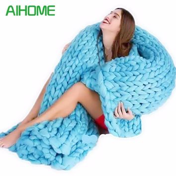 Soft Thick Line Blankets Fashion Hand Chunky Wool Knitted Blanket Thick Yarn Merino Wool Bulky Knitting Throw Blankets