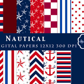 Nautical Paper, Nautical Digital Paper, Digital Paper, Digital Nautical, Nautical Printable, Nautical Stripes, Instant Download, anchors