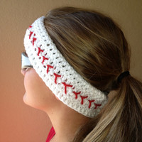 Baseball Headband, Crochet Headband, Baseball Ear Warmer