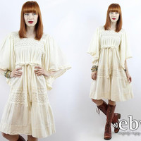 Vintage 70s Cream Cotton Hippy Wedding Dress Hippie Dress Boho Wedding Dress Hippie Wedding Dress Hippy Dress Festival Dress Crochet Dress