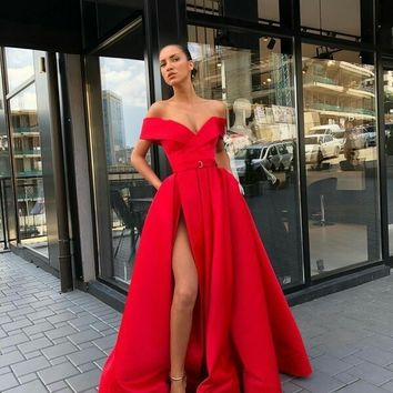 Sexy V-Neck Red Prom Dresses A-Line Floor-Length Satin Evening Dress Slit Party Gowns D6840