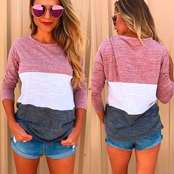 Scoop Loose Patchwork Long Sleeves Regular T-shirt