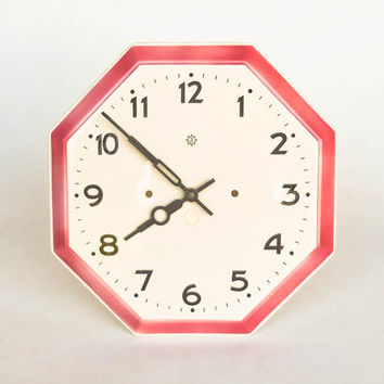 Vintage Ceramic Wall Clock by Junghans / Made in Germany / Art Deco Kitchen Clock / 1930s