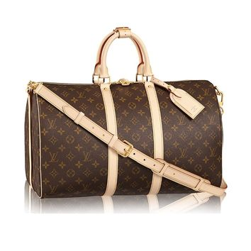 Louis Vuitton Monogram Canvas Cross Body Handle Keepall Bandoulière 45 Made in France