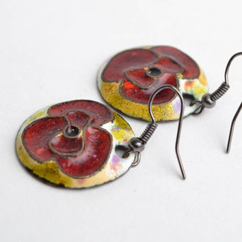 Handmade round copper earrings painted with colorful enamels red poppy flowers