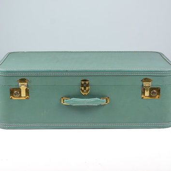 Large Pastel Suitcase, Vintage Suitcase, Old Suitcase, 1950s Suitcase, Antique Suitcase, Blue Suitcase, Large Suitcase, Travel Suitcase