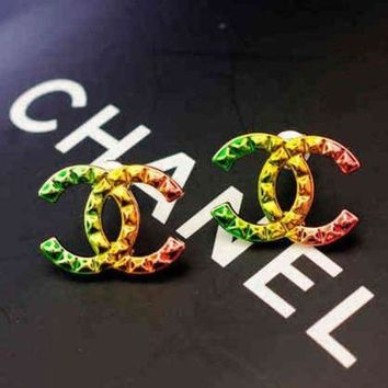 PEAPYV2 Chanel Woman Fashion CC Logo Multicolor Stud Earring Jewelry