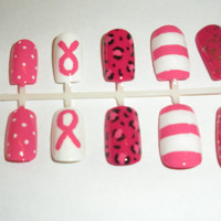 Breast Cancer Awareness Fake Nails - False, Artificial, Acrylic, Press-On