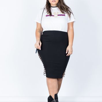 Plus Size Strapped Out Party Skirt