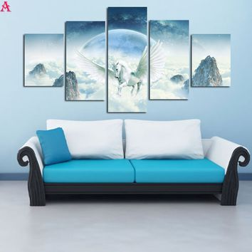 5 Panels HD Printed Canvas Painting Unicorn Pegasus Canvas Print Art Modern Home Decor Wall Art Picture For Living Room