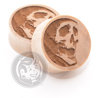 Mortal Skull Engraved Wood Plugs