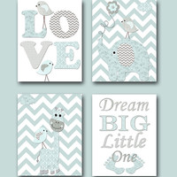 Nursery Quotes Dream Big Little One Baby Shower Gift Baby Boy Nursery Prints Kids Room Decor Childrens Art Print set of 4 8x10 Gray Blue