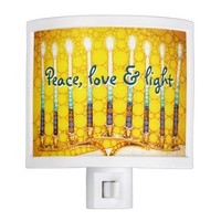 """Peace Love & Light"" Yellow Hanukkah Menorah Photo Night Light"