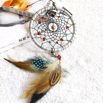 Silver Moon Rattan Dream Catcher With Natural Stone Accents