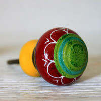 large colorful wooden knob //  drawer cabinet door pull handle // painted