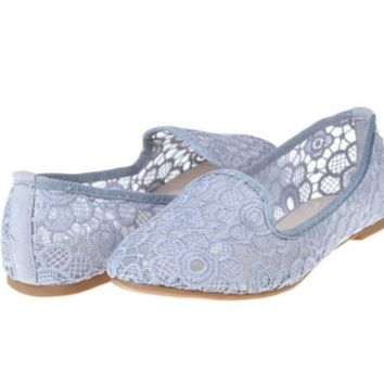 Grey Comfortable Trendy Casual Crochet Flat Loafers Ballet Lace Pattern